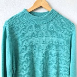 LAURA SCOTT Green Cable Knit Pullover Sweater XL